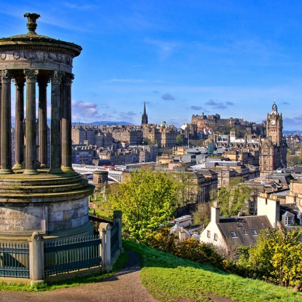 Aerial view over the historic center of Edinburgh Scotland from Calton Hill