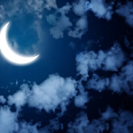 Night fairy tale - bright moon in the night sky